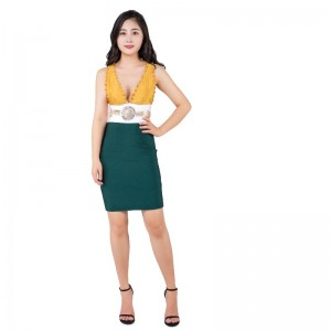 V-neck heavy industry hand-stitched beaded bandaged skirt