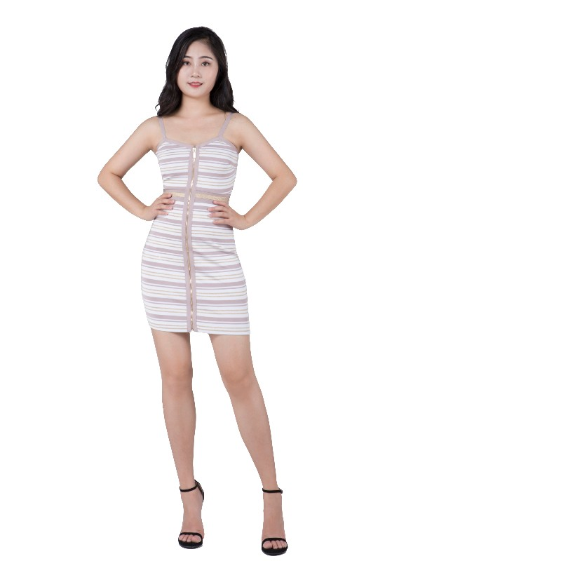Gold and silver stripe knit sexy female evening dress with halter belt