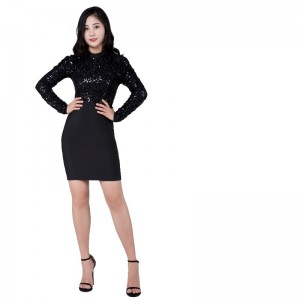 Black beaded off-the-shoulder heavy heavy body dress bandage skirt