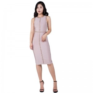Heavy industry sleeveless round collar golden section proportion female sexy bandage skirt