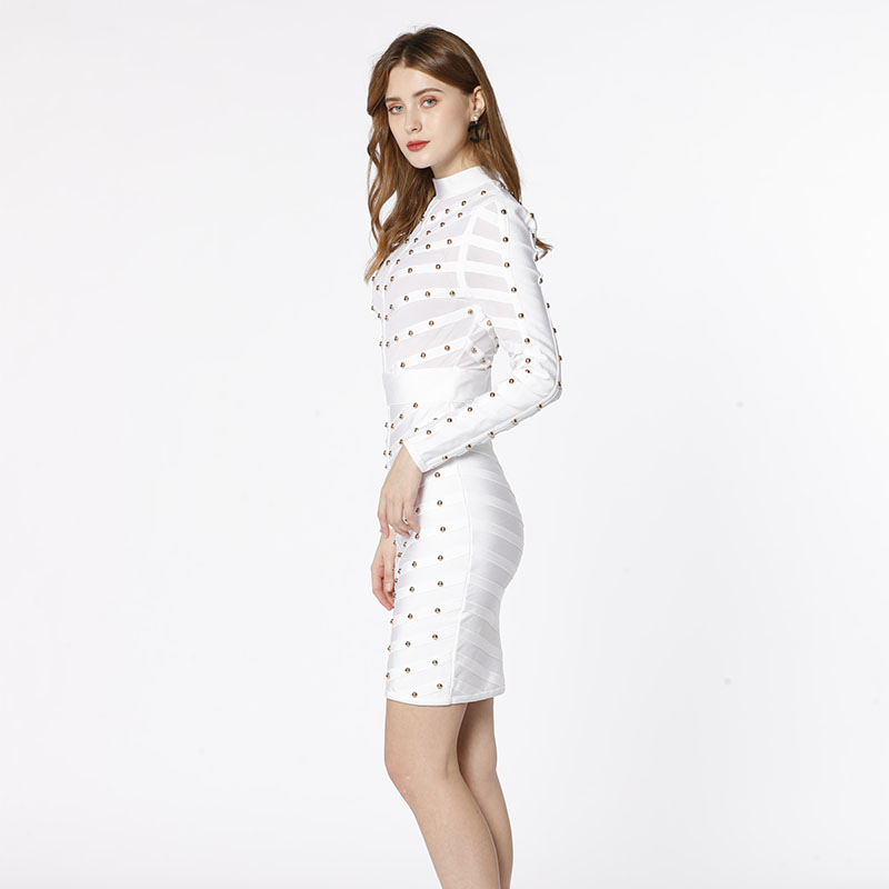 White long sleeve mesh see through handmade Studded  mature sexy bodycon evening party women bandage dress