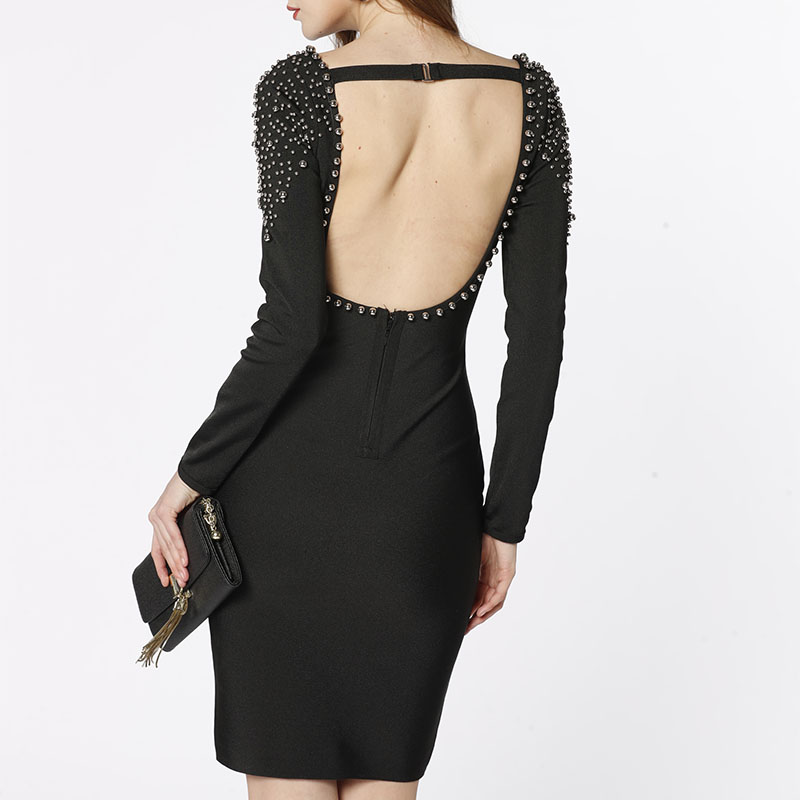 OEM factory design handmade beading rivets spandex backless women night club party elegant sexy bodycon bandage dress